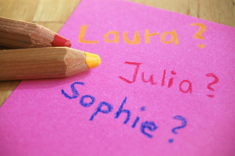 Zettel mit Vornamen