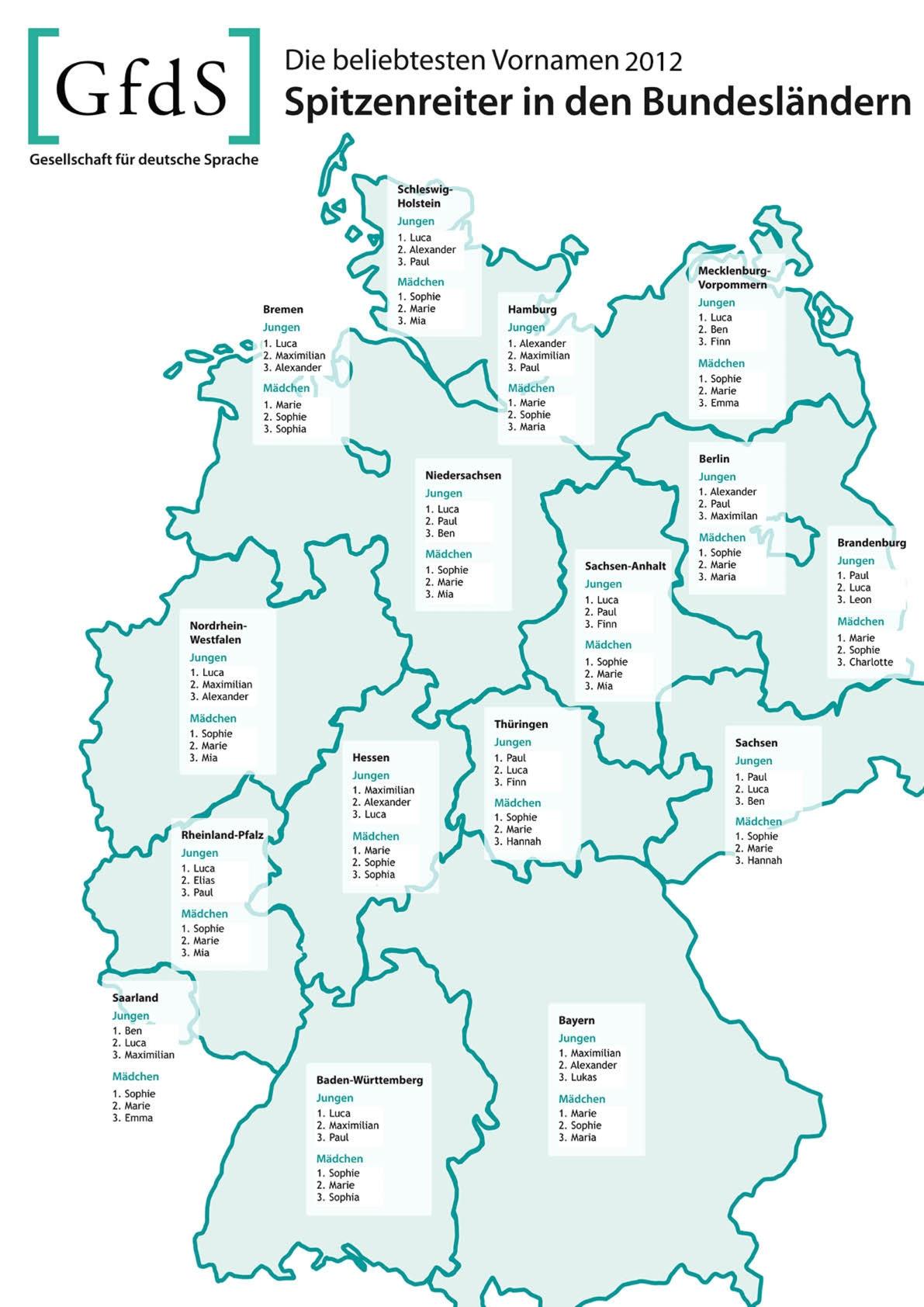 Beliebteste VN 2012_ Bundesländer im Vergleich