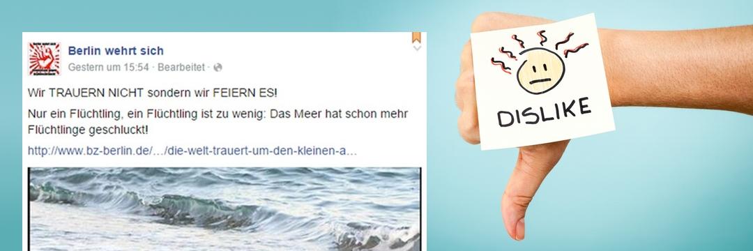 Foto: »Dislike concept with hand on blue background« von zakokor/fololia.com; Montage: GfdS